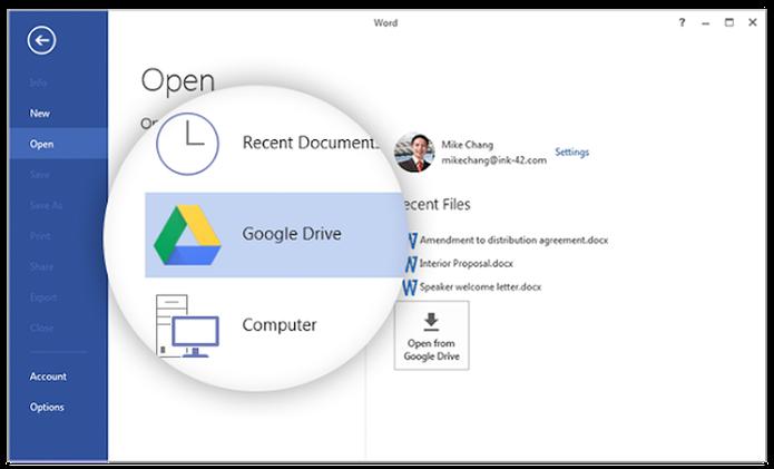 Extensão do Google permite que Drive seja acessado diretamente do Office (Foto: Reprodução/Google) (Foto: Extensão do Google permite que Drive seja acessado diretamente do Office (Foto: Reprodução/Google))