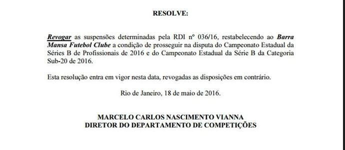 Ferj divulga comunicado revogando a suspensão do Barra Mansa (Foto: Divulgação/BMFC)