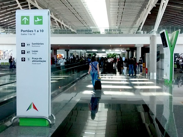 Área de embarque do Aeroporto JK, em Brasília (Foto: Lucas Nanini/G1)