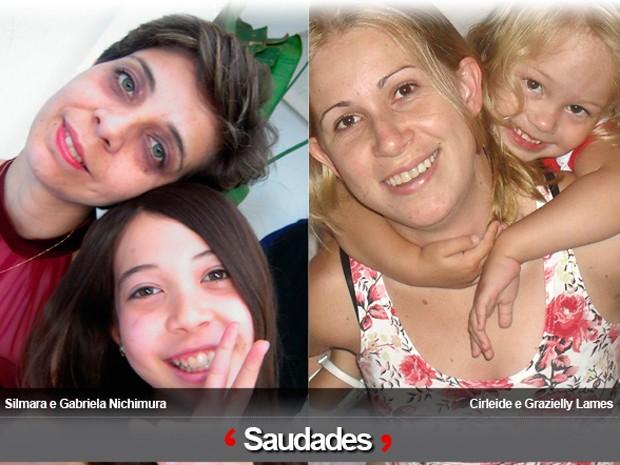 Silmara e a filha Gabriela Nichimura; Cirleide e a filha Grazielly (Foto: Arquivo Pessoal / Silmara Nichimura e Cirleide Lames)