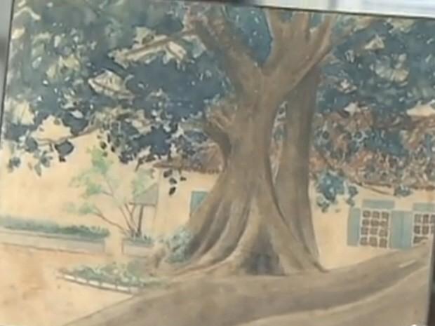 Uma das obras do pintor Monteiro Lobato, que ficarão expostas em Taubaté. (Foto: Reprodução/TV Vanguarda)