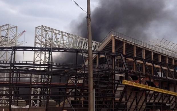Incêndio na Arena Pantanal (Foto: Inaián Souza/Arquivo pessoal)