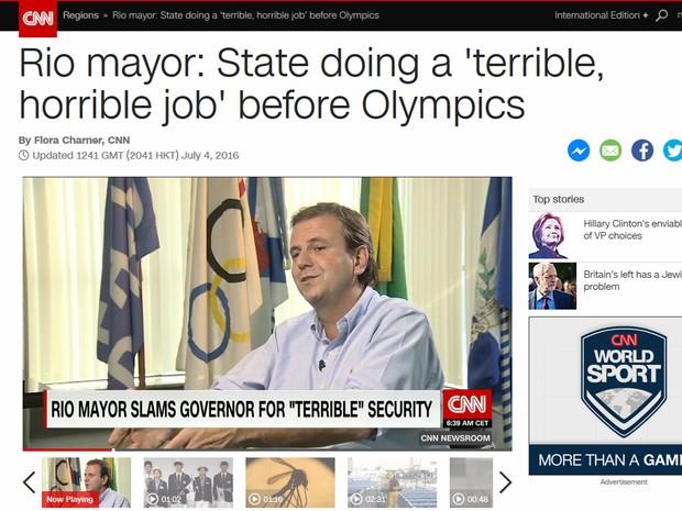 Paes fez críticas ao Governo do Estado do RJ em entrevista à CNN (Foto: Reprodução/ CNN.com)