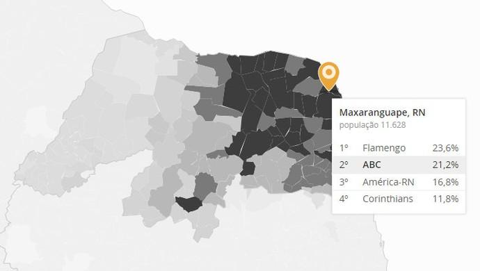 Mapa curtidas ABC (Foto: Reprodução)