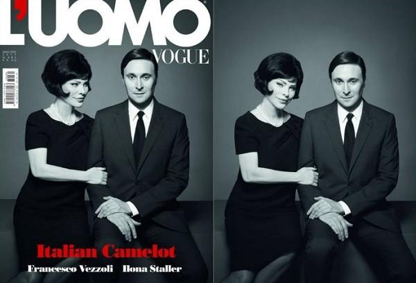 Cicciolina encarna a elegância das primeiras damas americanas na revista L'uomo Vogue deste mês (Foto: Reprodução)