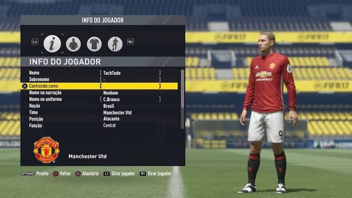 Adicione as informações do jogador em Fifa 17 (Foto: Reprodução/Murilo Molina)