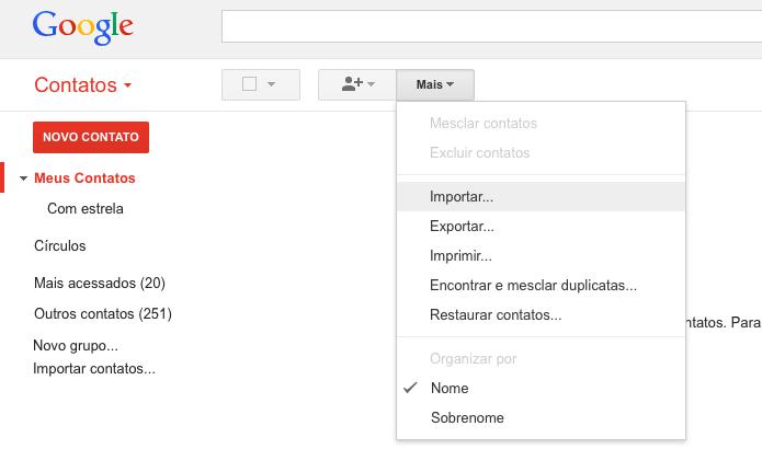 Importando contatos para a conta do Google (Foto: Reprodução/Helito Bijora)