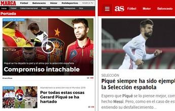 Jornais de Madri se retratam com Piqué e pedem que ele mude de ideia