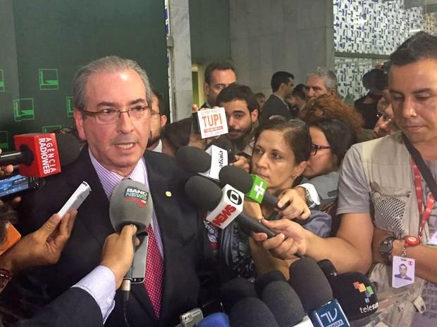Eduardo Cunha concede entrevista coletiva após reunião de líderes (Foto: Nathalia Passarinho/G1)