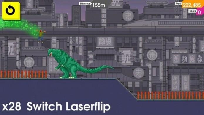 Até um dinossauro serve de suporte para os seus saltos (Foto: Divulgação)