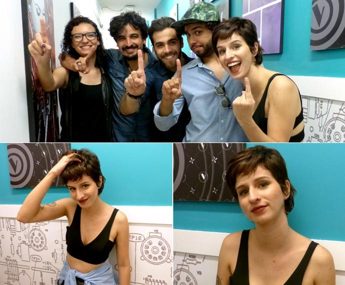 Vocalista da Plutão Já Foi Planeta com cropped e barriguinha de fora (Foto: Bruna Magalhães / Gshow)
