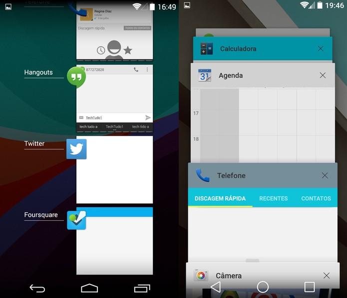 Multitarefa do KitKat e do Android L (Foto: Reprodução)
