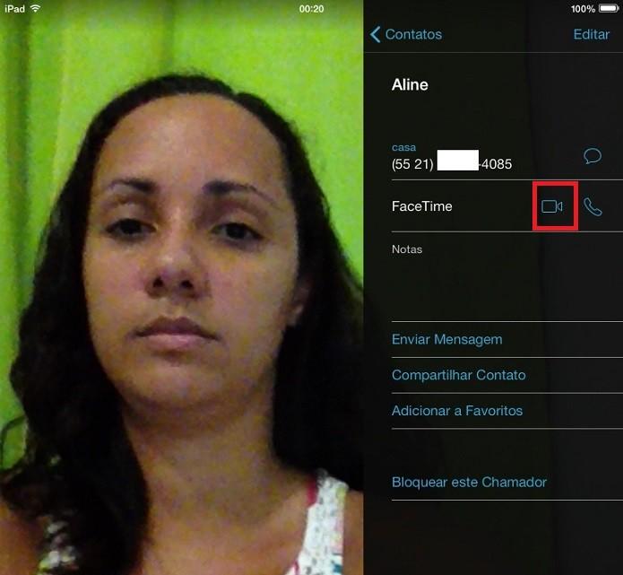 Imagem mostra localização do ícone que inicia chamadas no FaceTime pelo iPad (Foto: Aline Jesus/Reprodução)