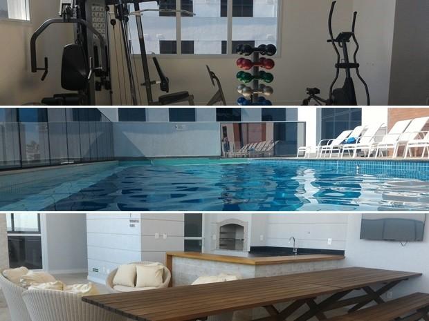 Áreas como academia, piscina e espaço para churrasco são diferenciais Goiás Goiânia (Foto: Vanessa Martins/G1)