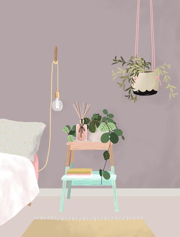 Plantas no quarto (Foto: Ilustração Malena Flores)