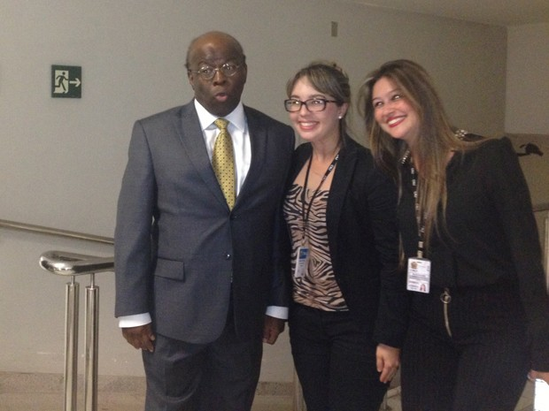 O presidente do STF, Joaquim Barbosa, após sua última sessão no CNJ (Foto: Mariana Oliveira/G1)