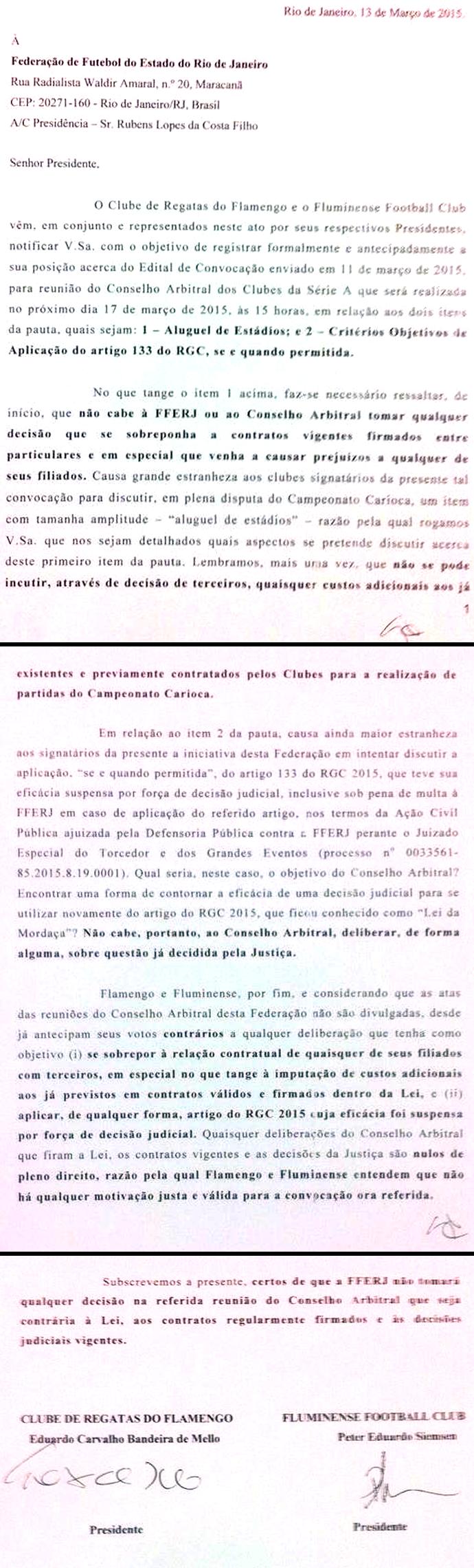 Documento Flamengo e Fluminense (Foto: Reprodução)