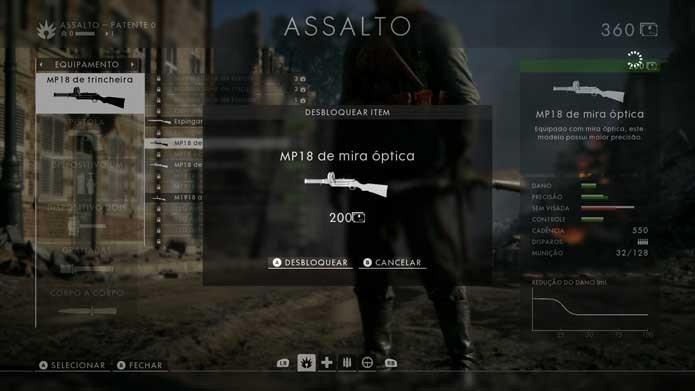 Compre sua nova arma em Battlefield 1 (Foto: Reprodução/Murilo Molina)