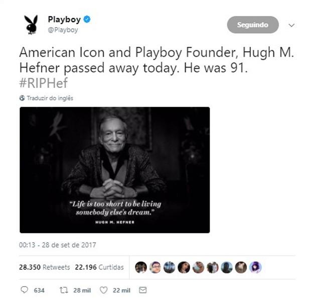Hugh Hefner morre e Playboy confirma (Foto: Reprodução)