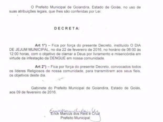 Por meio de decreto prefeito pede que moradores jejuem para afastar a dengue Goiás Goiandira (Foto: Divulgação/Prefeitura de Goiandira)