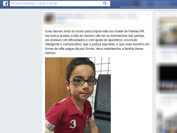 Mãe é suspeita de matar o próprio filho no Paraná.  (Foto: Reprodução/Facebook)