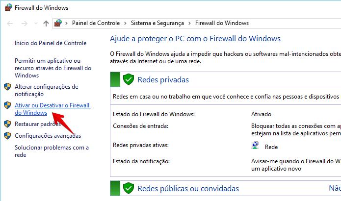 Janela de configurações do firewall do Windows 10 (Foto: Reprodução/Helito Bijora)