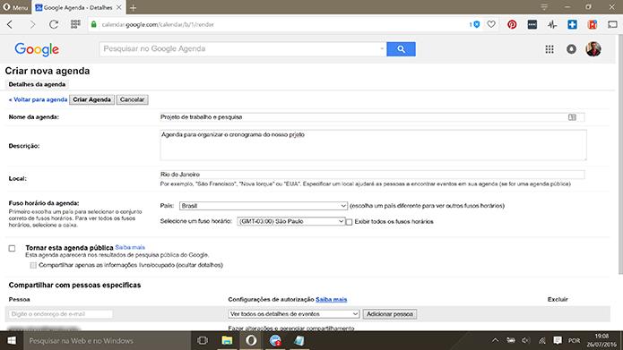 Preencha informações como título e fuso horário no Google Agenda (Foto: Reprodução/Elson de Souza)