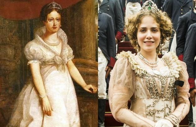 Leticia Colin caracterizada como Maria Leopoldina (Foto: Reprodução/Luis Schlappriz (Museu do Estado de Pernambuco, Recife) e TV Globo)