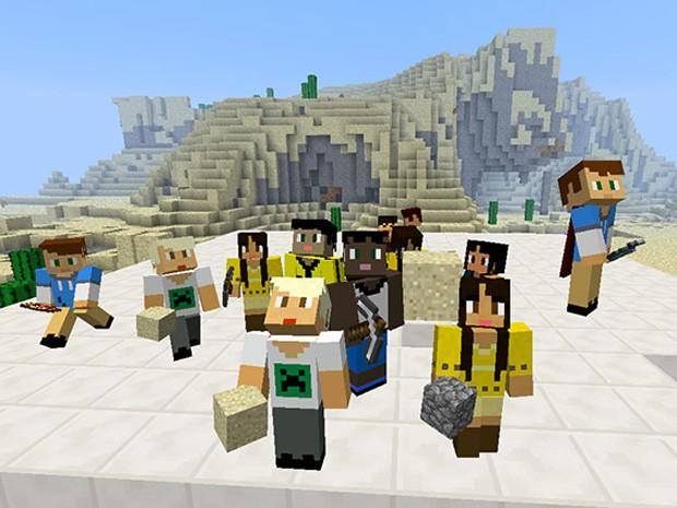 Avatares de alunos no MinecraftEdu, versão do jogo de cubos voltado à educação (Foto: Reprodução/ Minecraft)