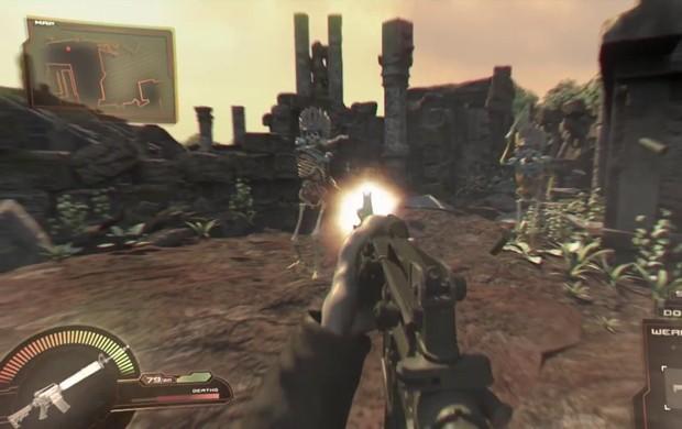 Games de tiro em primeira pessoa também foram lembrados no novo clipe do Iron Maiden (Foto: Reprodução/YouTube/Iron Maiden)