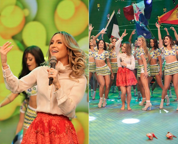 A cantora decidiu ficar mais à vontade e abandonou o salto (Foto: Raphael Dias / TV Globo)