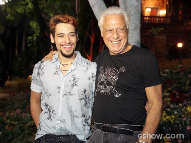Fagundes reunidos na TV. Pai e filho vão atuar juntos em Meu Pedacinho de Chão (Foto: Pedro Curi/TV Globo)