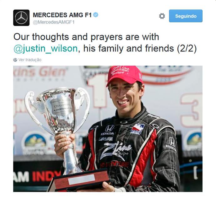 Mercedes publica mensagem de apoio a Justin Wilson (Foto: Divulgação)