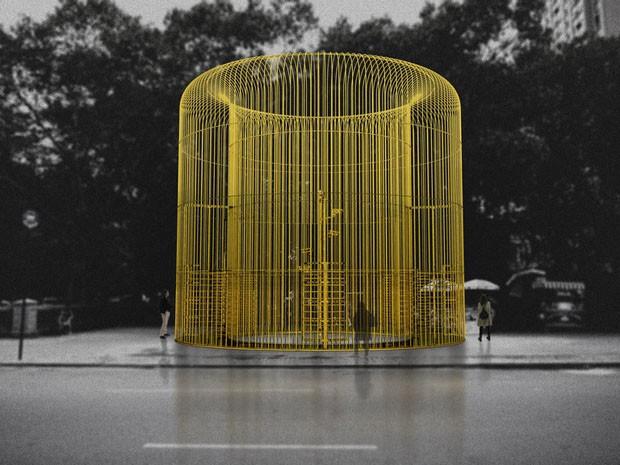 Artista chinês cria estruturas de ferro em Nova York como forma de protesto (Foto: Reprodução)