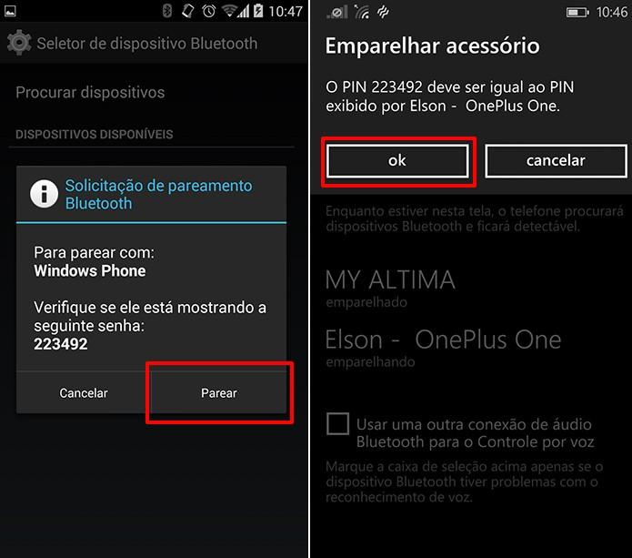 Android e Windows Phone exibirão uma senha necessária para o pareamento (Foto: Reprodução/Elson de Souza)