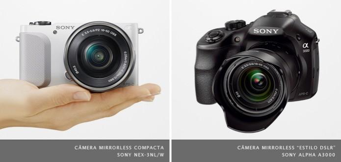 """Câmera mirrorless Sony Alpha A3000 possui """"estilo DSLR"""", mas utiliza o sistema de lentes """"E"""", mesmo das mirrorless compactas (Foto: Divulgação/Sony) (Foto: Câmera mirrorless Sony Alpha A3000 possui """"estilo DSLR"""", mas utiliza o sistema de lentes """"E"""", mesmo das mirrorless compactas (Foto: Divulgação/Sony))"""