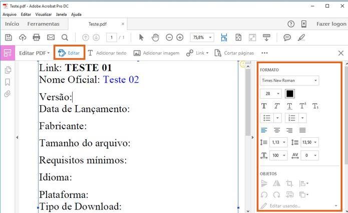 Inicie as edições dos elementos no PDF (Foto: Reprodução/Barbara Mannara)