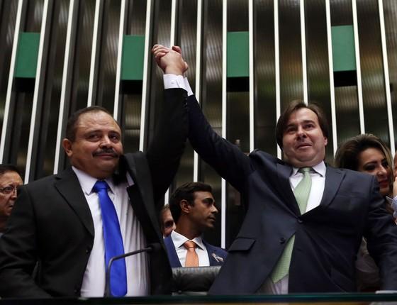 Rodrigo Maia, comemora reeleição da presidência da Câmara (Foto: Ailton de Freitas / Agência O Globo)