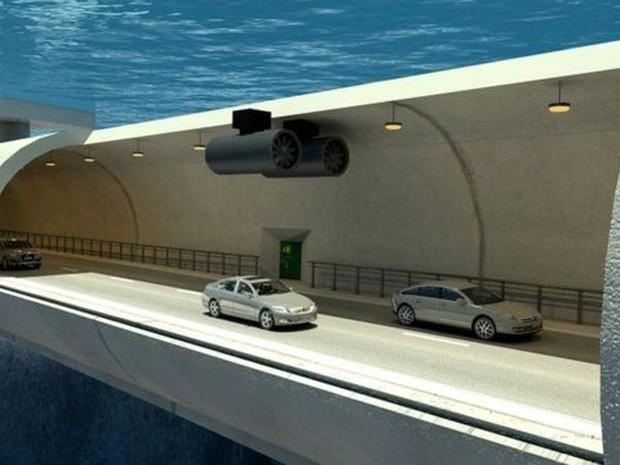O túnel ficará a 30 metros de profundidade e vai permitir que os veículos atravessem os fiordes algo que, hoje, só pode ser feito de balsa (Foto: Governo da Noruega/Vianova/BBC)