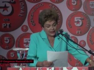 A presidente Dilma Rousseff, durante discurso no 5º Congresso Nacional do PT, em Salvador (Foto: Reprodução/Agência PT de Notícias)