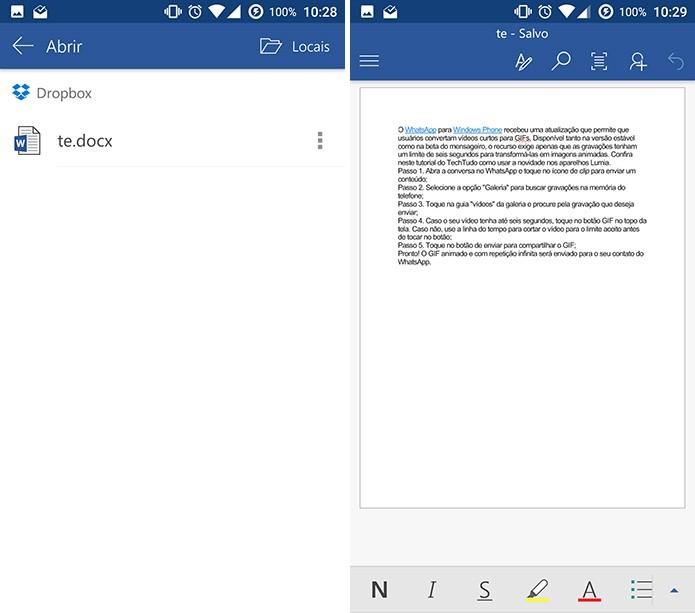 Office para Android salvará automaticamente o documento editado (Foto: Reprodução/Elson de Souza)