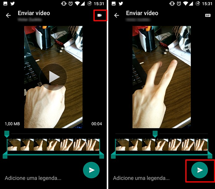 Toque no botão para converter vídeo do WhatsApp para GIF (Foto: Reprodução/Elson de Souza)