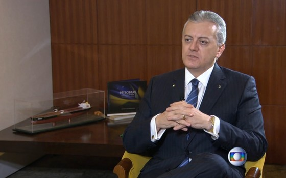 Bendine durante sua primeira entrevista após o anúncio de que assumirá a presidência da Petrobras (Foto: Reprodução/TV Globo)
