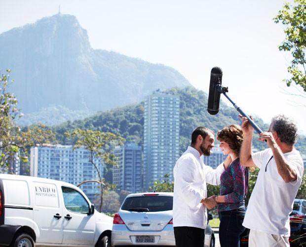Cena foi rodada na Lagoa Rodrigo de Freitas, no Rio (Foto: Raphael Dias/TV Globo)
