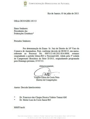 documento CBF paralisando partida entre Gênus e Nacional (Foto: Reprodução / CBF)