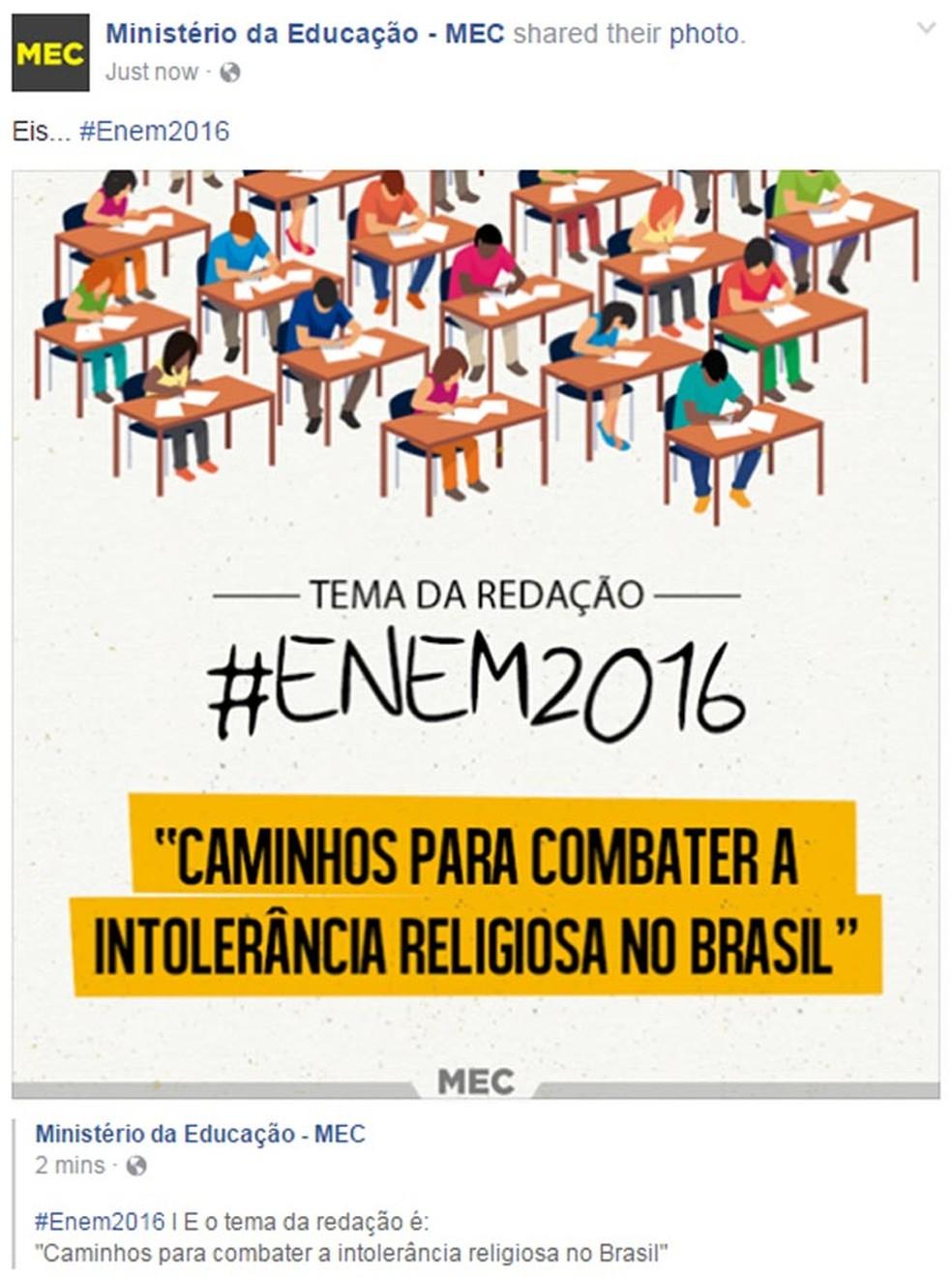 O perfil oficial do MEC no Facebook também divulgou o tema da redação do Enem 2016; prova abordou a intolerância religiosa no Brasil (Foto: Reprodução/Facebook)