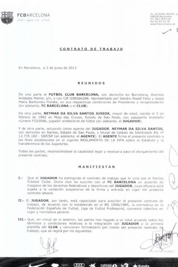contrato neymar barcelona pagina 1 (Foto: Divulgação)