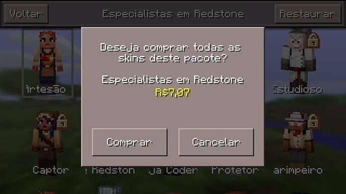 Algumas das skins de Minecraft Pocket Edition são pagas (Foto: Reprodução/Murilo Molina)