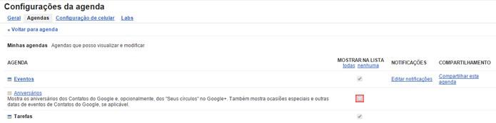 Opção também permite controlar exibição de outras agendas (foto: Reprodução/Google)