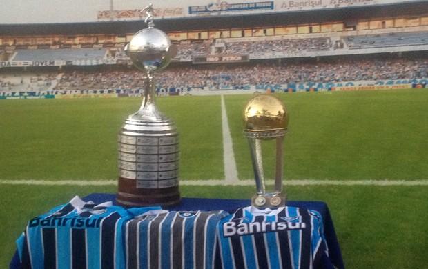 Torcedores com as taças da Libertadores e do Mundial, em painel que dá a sensação de estar dentro do Olímpico (Foto: Jesana de Jesus/G1)